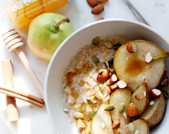 Cinnamon Porridge with Honey Roasted Pears