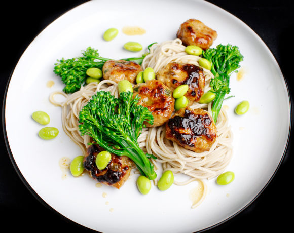 Honey Miso Meatballs with Soba Noodles
