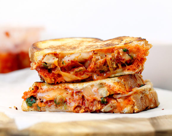 Roast Pork, Kimchi and Cheese Toastie