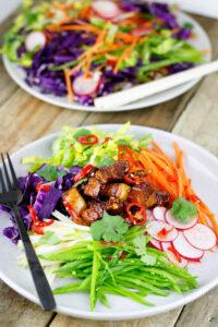 Sticky Pork with Asian Salad